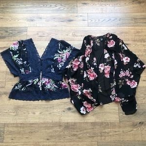 TWO Forever 21 Sheer Floral Tops S & M